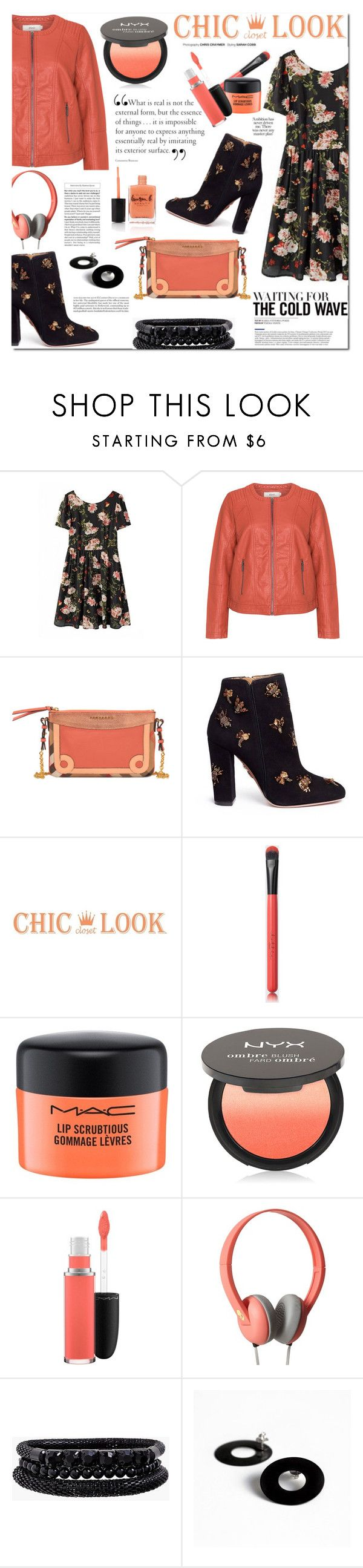 """Dark Floral fashion contest."" by patria ❤ liked on Polyvore featuring Zizzi, Burberry, Aquazzura, MAC Cosmetics, NYX, Skullcandy, Spring Street, B KREB, Lauren B. Beauty and fashionset"