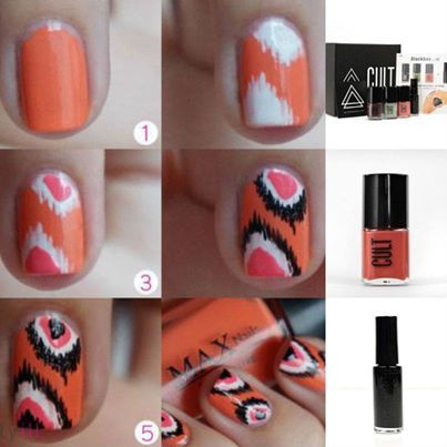 Different color combination would make this cooler Simple Cool nail art for short nails