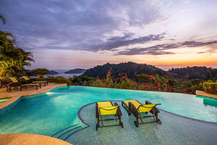 With a name that means 'sunset' in Spanish, the luxury villa delivers with panoramas of three different bays and the Costa Rican rainforest.