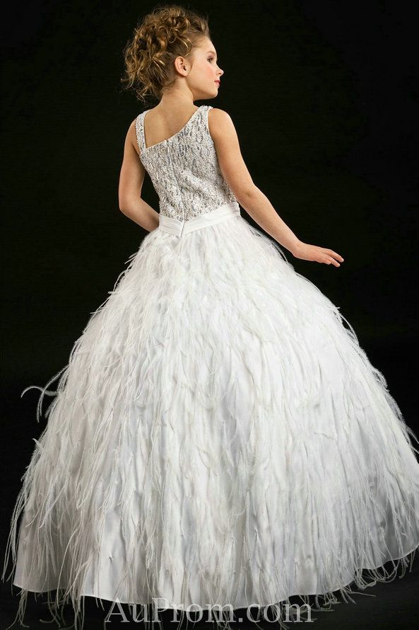 white feather dresses for little girls | ... Beautiful Unique White Pageant Dress For Little Girls Designers