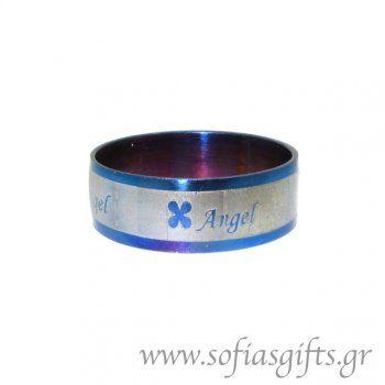 Ανδρικό δαχτυλίδι metal blue Angel