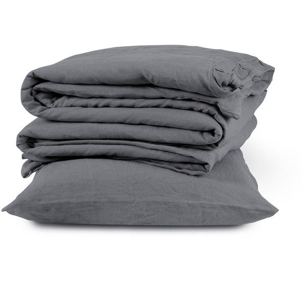 The Linen Works Lens super-king duvet cover set ($390) ❤ liked on Polyvore featuring home, bed & bath, bedding, duvet covers, linen pillow cases, dark grey bedding, dark gray bedding, super king bedding and linen bedding
