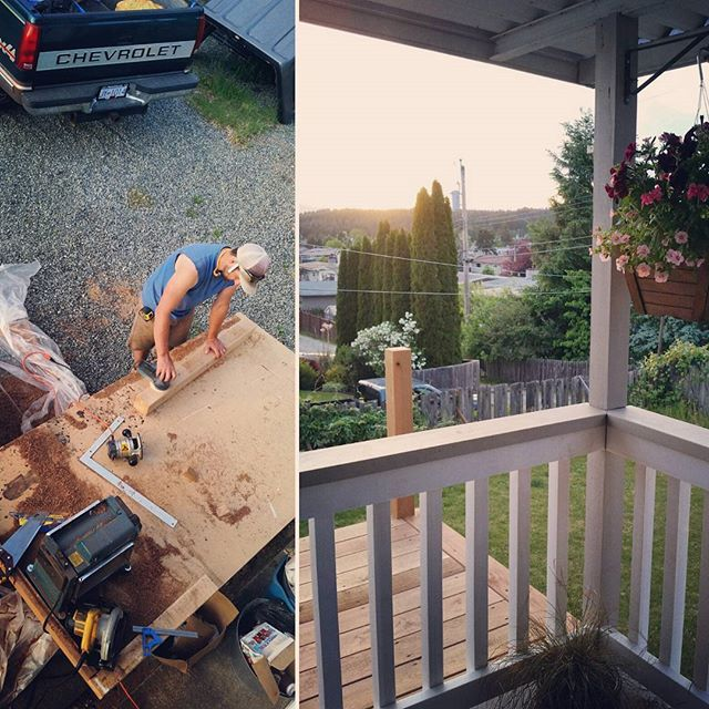 This guy...Working away on new back stairs as the sun goes down. #keeper #homerenovation