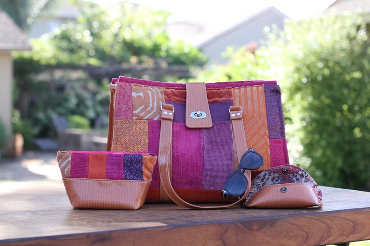 3 Piece Travel Set - Orange and Pink Fabric with Vinyl Trim - Large Bag, Eye Glass Case, and Zippered Pouch by CarryOnDesignShop on Etsy https://www.etsy.com/listing/522314630/3-piece-travel-set-orange-and-pink
