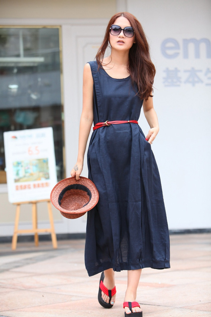 Maxi Dress Unique Loose fitting Long Vest Sundress Summer Dress in Deep Blue for Women  - NC309. $74.00, via Etsy.
