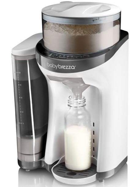 """A Keurig for kiddies has hit the market. Meet Baby Brezza's Formula Pro, which has been nicknamed """"baby's first latte machine"""" because it mixes formula in seconds with the push of a button."""