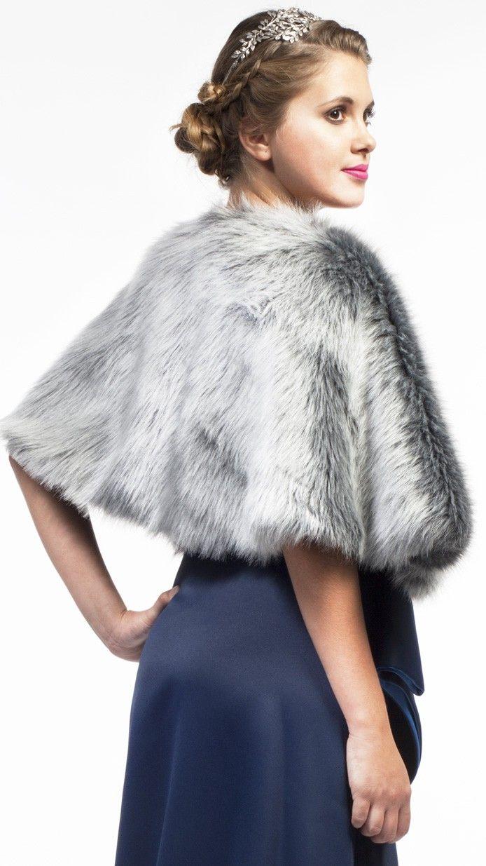 DRESSEOS - Capa de piel sintética gris, perfecta para cualquiera de tus ocasiones