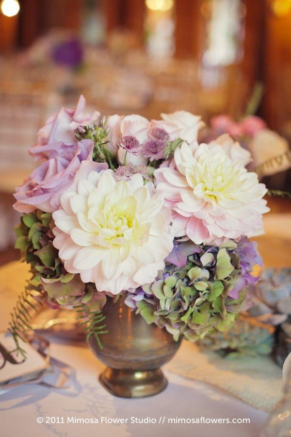 Hydrangea, Dahlias, Roses & Astrantia in an Urn