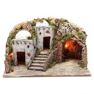 Cabaña y ambientación árabe con luz para belén 28x50x40 cm