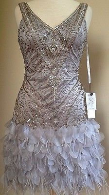 SUE WONG 1920's GATSBY Beaded Sequin Embellished Feather Flapper Dress 4 NEW