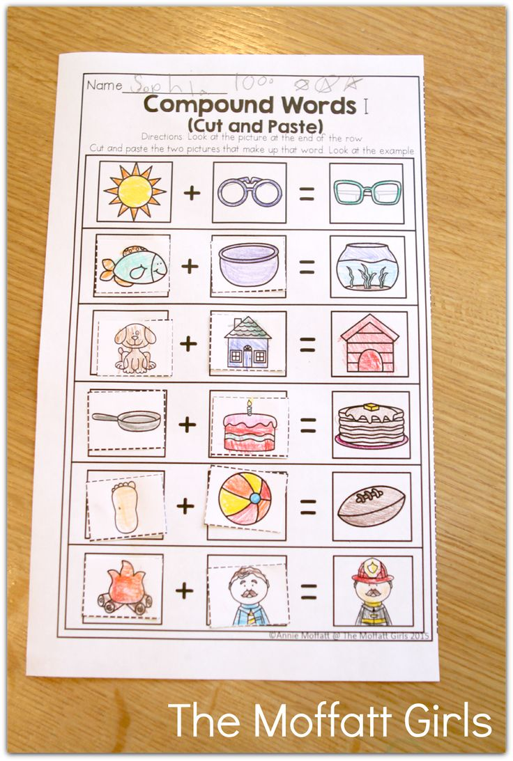 Worksheet Compound Words For Preschool 1000 ideas about compound words on pinterest spelling cut and paste perfect introduction to words