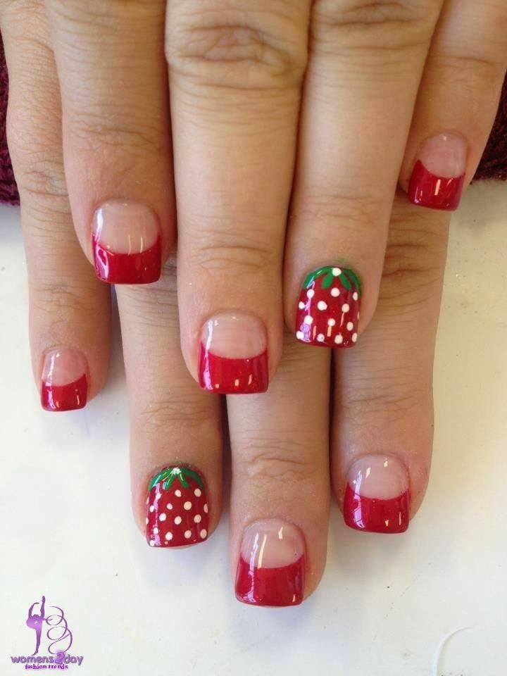 strawberry nail art design / girls fashion trend winter 2015