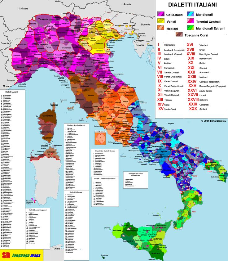 A map showing Italy's many dialect areas.