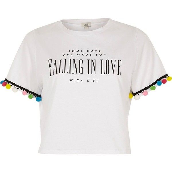 River Island White 'falling in love' print pom pom T-shirt (£37) ❤ liked on Polyvore featuring tops, t-shirts, white, women, crop top, white vests, short sleeve t shirt, white crop top and print t shirts