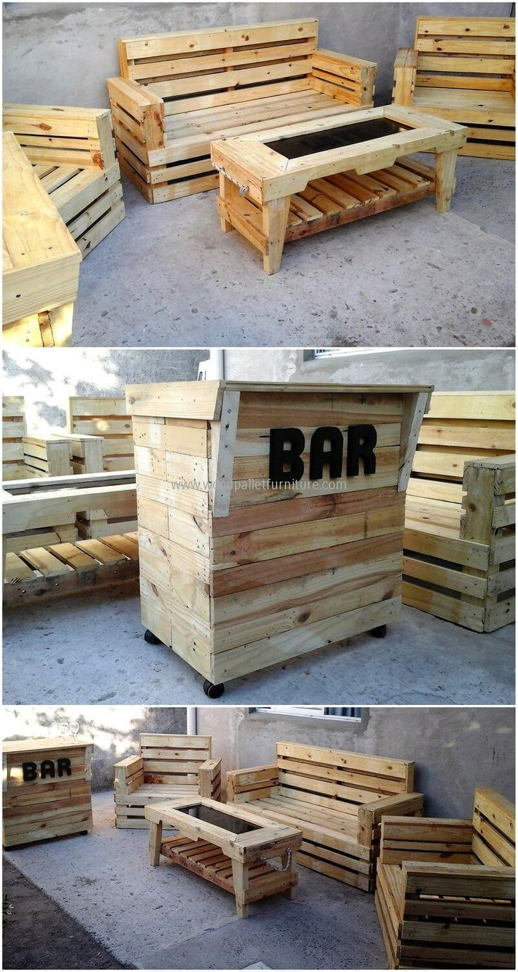 we would like to present an idea which is complete and perfect for a person who is going to open a bar. Here is the shipping pallet made furniture with bar, it will allow serving the guests as well as allow them a comfortable place to sit and drink with the friends.
