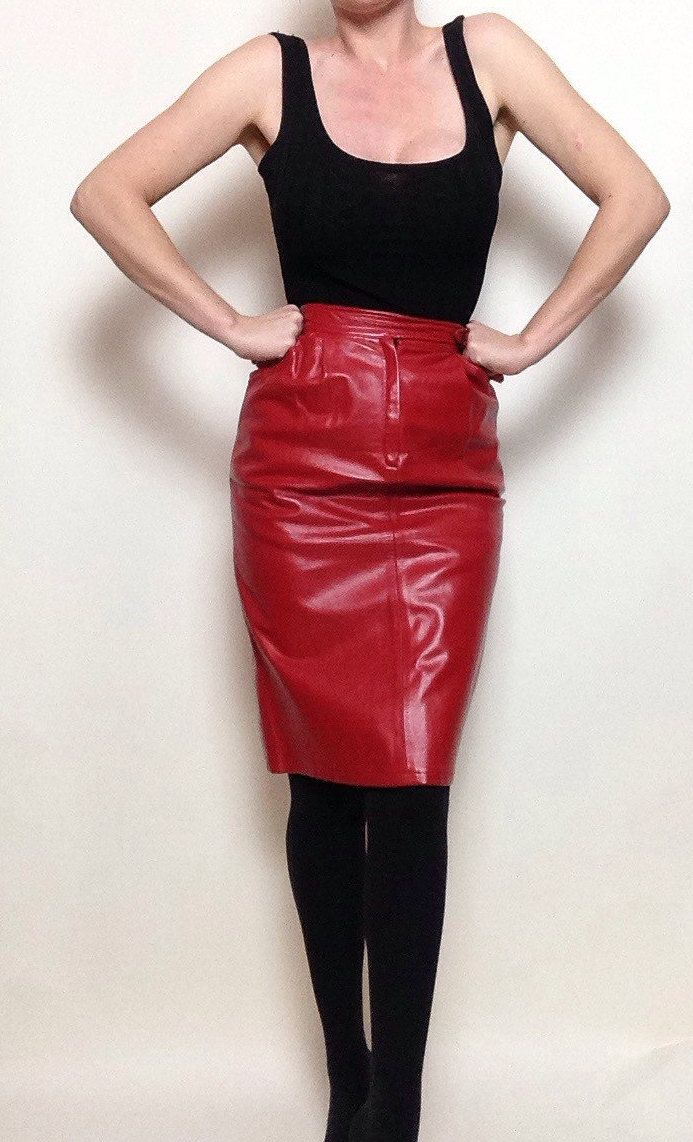 3f41ee39b5 Vintage Rodier Paris Red Leather Skirt | Made in France | High Waisted |  Pencil Skirt | Holiday | Shiny | by VampRodeoVintage on Etsy