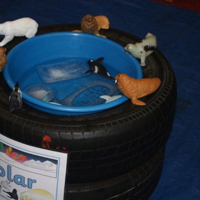 Washing up tub inside tyre to make water play tub....exploring polar animals and the properties of ice