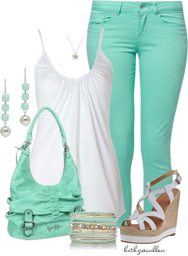 """""""Colored Jeans"""" by bitbyacullen ❤ liked on Polyvore....I really want that Jessica Simpson bag but I can't justify paying $98 for a purse right now"""