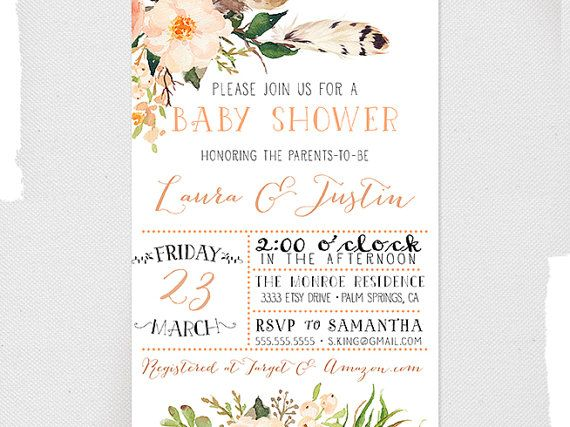 Couples Baby Shower Invitation, Gender Neutral, Boho Flower, Feather, Peach Baby Shower Invites [141]