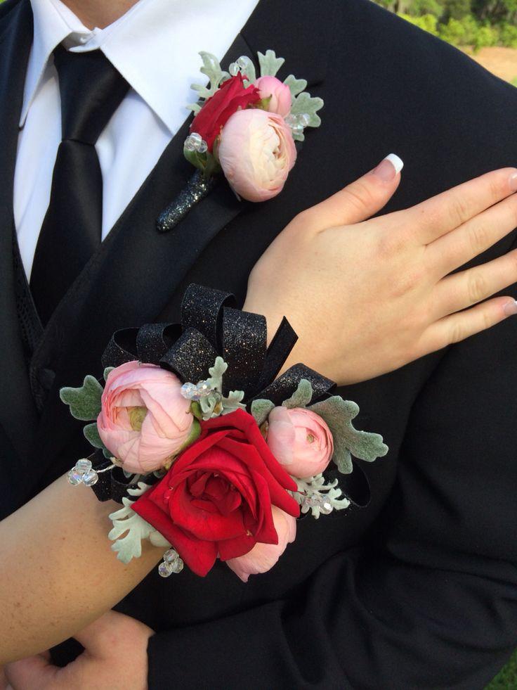 Prom corsage n boutineer red rose n pink ranuculus