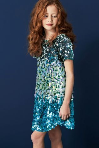 Get your little and big kids sparkling in this green sequin dress, or even twin it out!