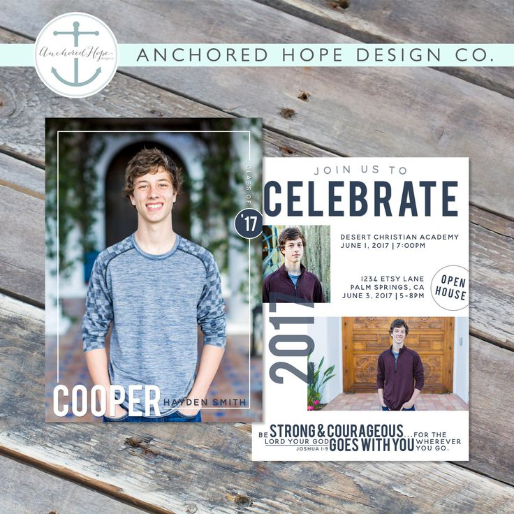 Graduation Announcement | Christian | High School Graduation | College Graduation | Open House Invitation | Multi Photo by AnchoredHopeDesignCo on Etsy