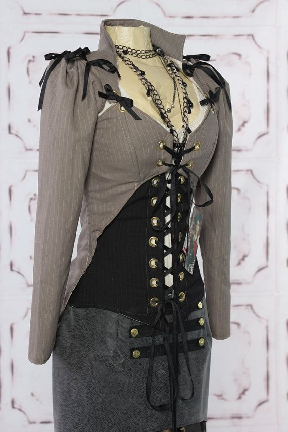 Grey Pinstripe Suiting Steampunk Jacket by Damsel in this Dress
