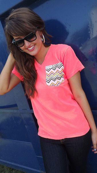 Chevron Pocket Tee - Neon Coral