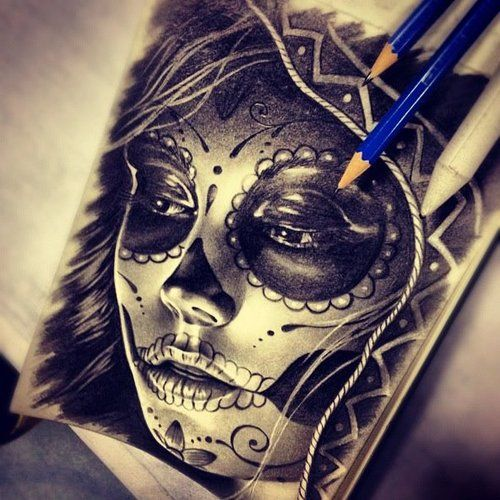 Sexy Sugar Skull Girl Tattoo Sugar Skull Drawing By