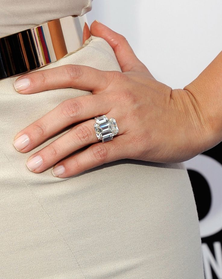 The Donald knows. Melania Trump's 15 Carat Emerald-cut ring is huge but tasteful.