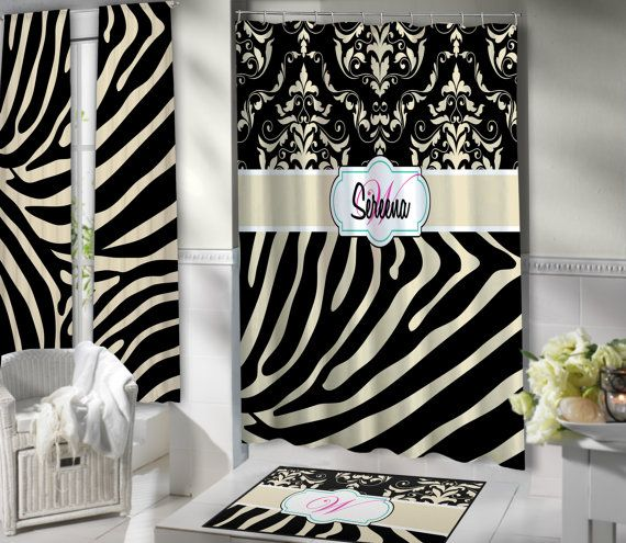 Animal Print Shower Curtain, Black U0026 Tan, Fabric Shower Curtain, Zebra Print,  Damask, Extra Long, Monogrammed Shower Curtain, ANY COLOR #116