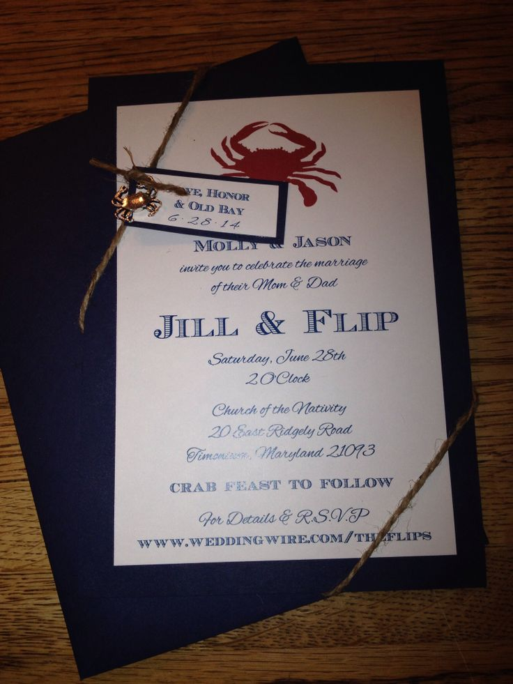 Our invitations I made! 2nd wedding with kids ! Crab charm and twine! Baltimore crab feast theme!