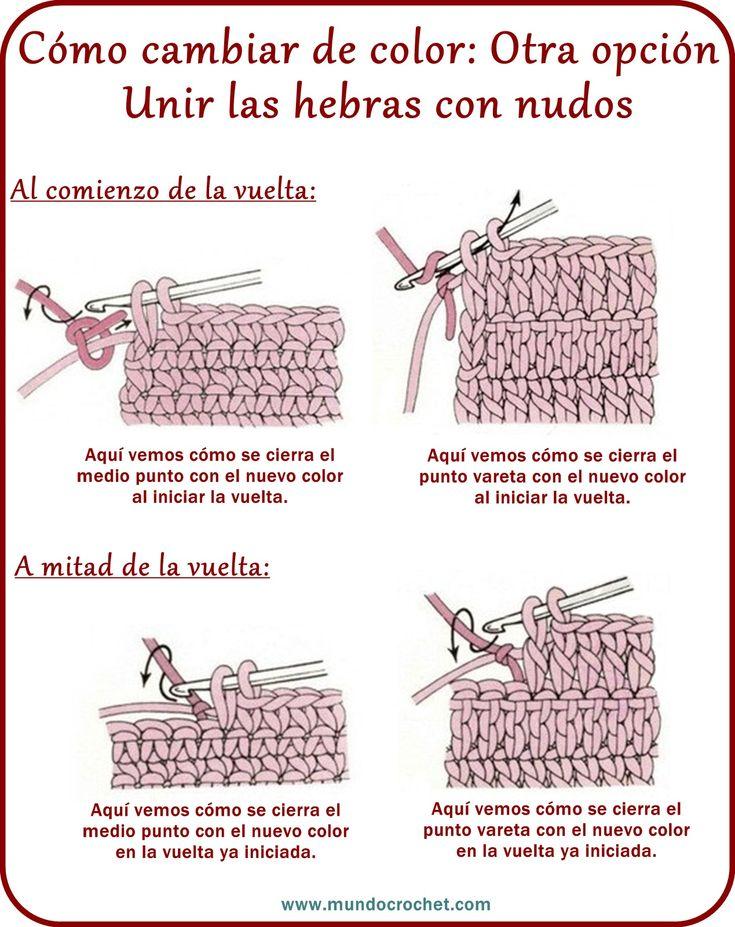 Cambio de color en crochet - Teresa Restegui http://www.pinterest.com/teretegui/ ✔