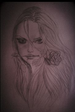 creepy girl with long hair and rose  #like a tattoo#drawing by me #look her eyes