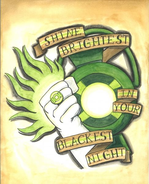 """Shine Brightest in Your Blackest Night"" One of the pieces from my ongoing superhero tattoo flash project. It is 11""x14"" done in watercolors .#greenlantern #corps #dc #lantern #green #ring #shine #brightest #darkest #night #tattoo #flash"