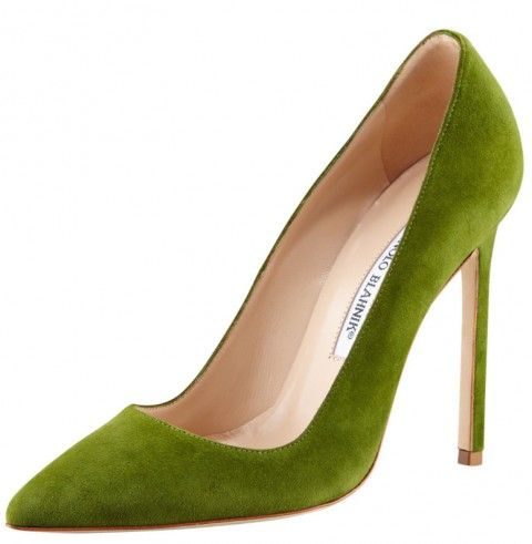 Manolo Blahnik green high heels