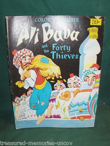 Vintage Color By Number Ali Baba And The Forty Thieves Coloring Book