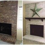 Whitewash Brick Fireplace Before and After
