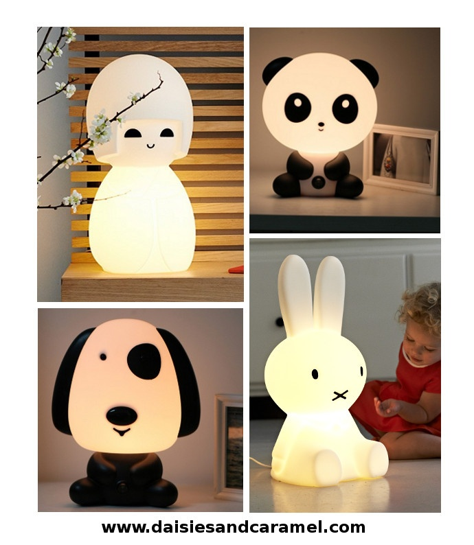 Which of these cuties is your favourite? All 4 lamps fit a nursery, a children's room or playroom, or even a modern living room!  Available on Daisies & Caramel.