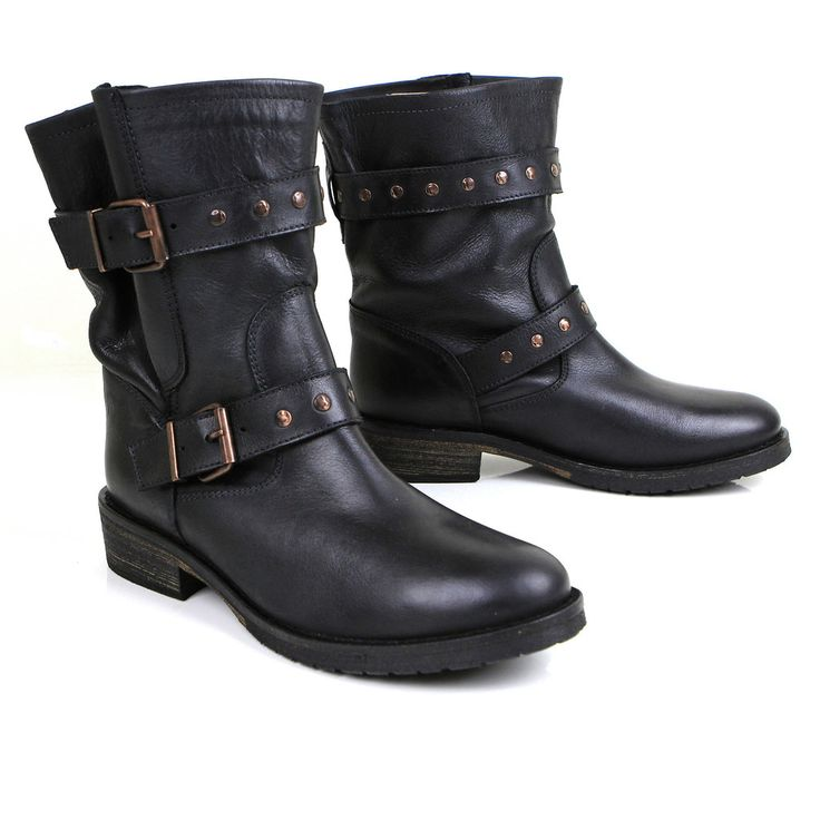 New Look Wide Fit Conquer Buckle Biker Boots