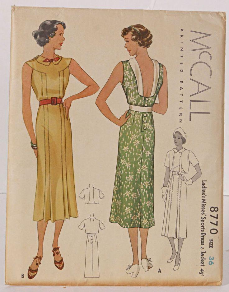 McCall 8770 | ca. 1936 Ladies' & Misses' Sports Dress & Jacket