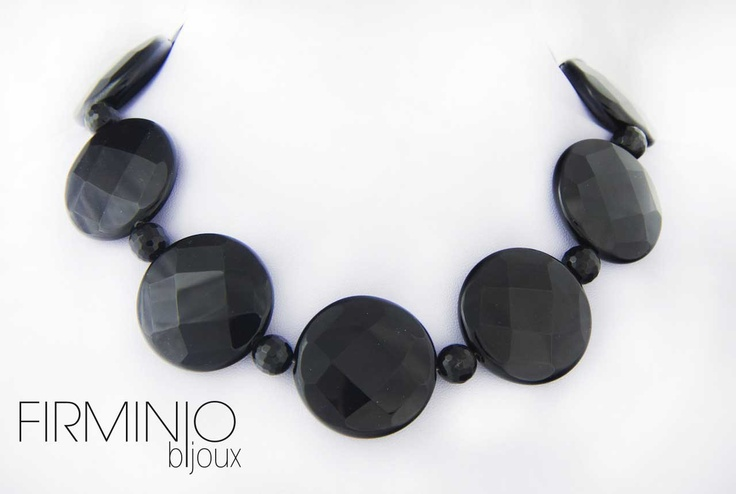 #Girocollo in #onice sfaccettata.  #Necklace in #onyx