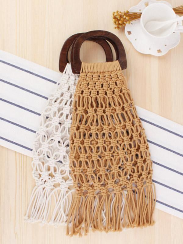 Fishing Net Wooden Handle Tasseled Tote Bag Alca De Bolsa De Madeira Saco Macrame Macrame