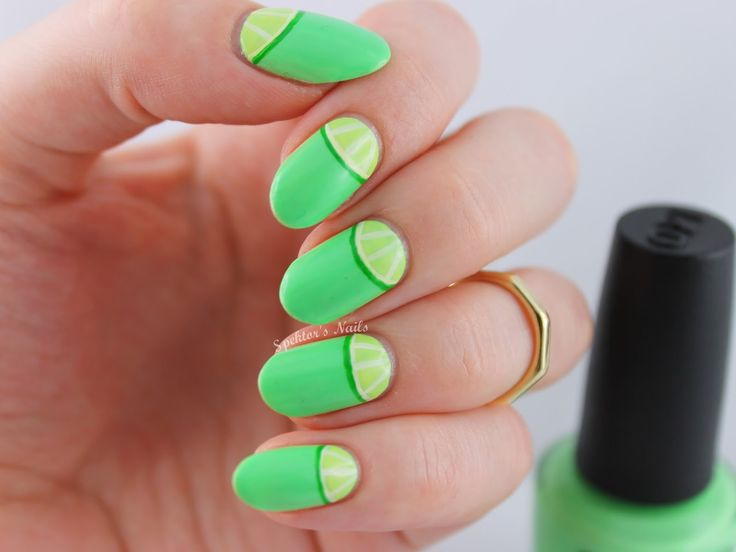 OPI - You Are So Outta Lime - Halfmoon Lime Nail Art