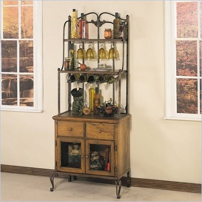 Powell Coventry Honey Maple and Cinnamon Bakers Rack with Wine Storage - A60