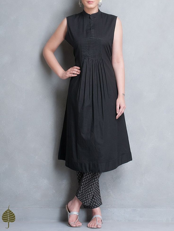 Buy Black Pleated Sleeveless Cotton Kurta by Jaypore Apparel Tunics & Kurtas Earth Song Contemporary Jackets Dresses More Online at Jaypore.com