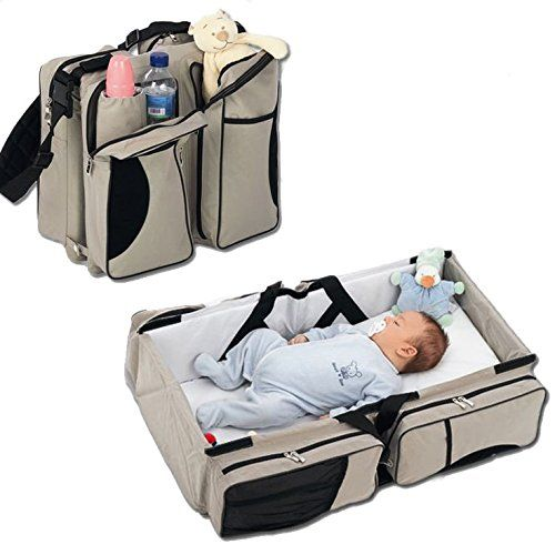 3 in 1 - Baby Travel Bassinet - Diaper Bag - Change Station (Cream) ~ Carrycot Portacrib Travel Bed Crib Portable Change Table
