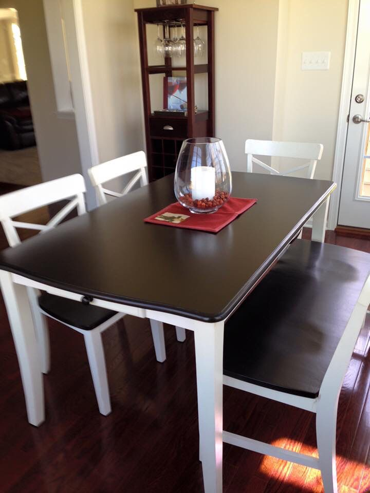 Dining room table done in java gel stain on top and pure for Table th bottom