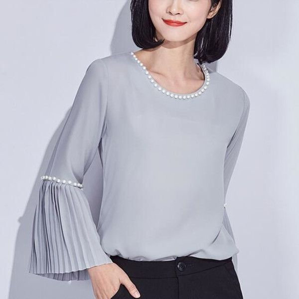Sweet pearl trumpet sleeve tops for women chiffon blouse