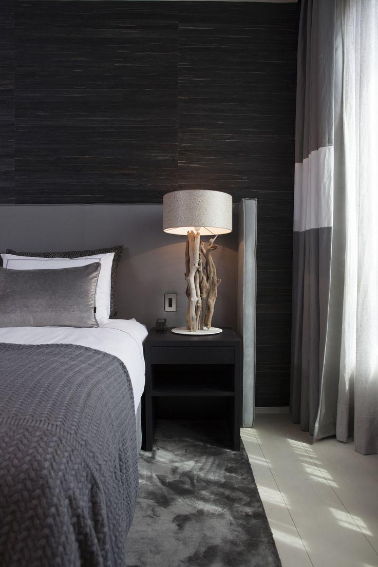 Byron & Jones Interiors - Headboard - Carpet - Lighting - Nightstand - Grey - Wallpaper